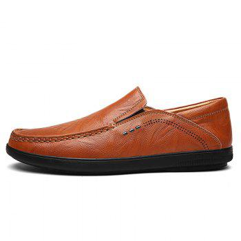 Slip On Faux Leather Casual Shoes - BROWN 41