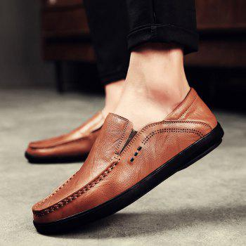 Slip On Faux Leather Casual Shoes - BROWN 42