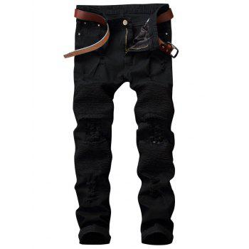 Zipper Fly Pleated Distressed Biker Jeans