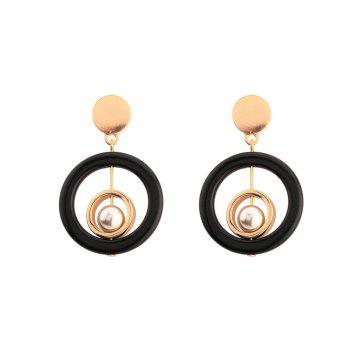 Resin Faux Pearl Metal Circle Earrings