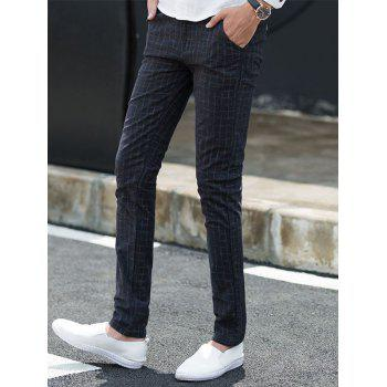Checked Zip Fly Chino Pants - 36 36