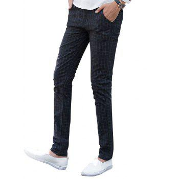 Checked Zip Fly Chino Pants - BLACK 36