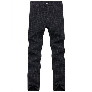 Checked Zip Fly Chino Pants - BLACK 34