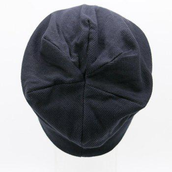 Pinstriped Plain Fall Knitting Beanie Hat - BLACK