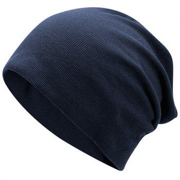 Pinstriped Plain Fall Knitting Beanie Hat - DEEP BLUE DEEP BLUE