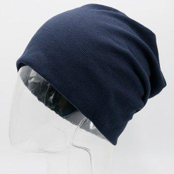 Pinstriped Plain Fall Knitting Beanie Hat -  DEEP BLUE
