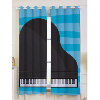 2Pcs Piano Printed Lightproof Window Curtains - BLUE AND BLACK W53 INCH * L63 INCH