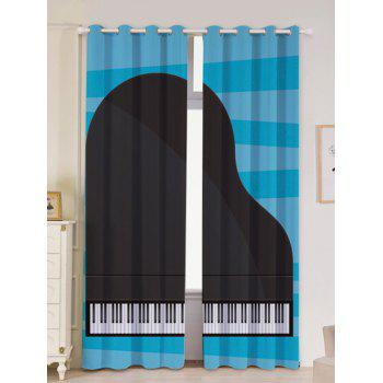 2Pcs Piano Printed Lightproof Window Curtains - BLUE AND BLACK W53 INCH * L84.5 INCH