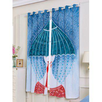 Lightproof 2Pcs Résumé Printed Window Curtains - Coloré W53 INCH * L63 INCH