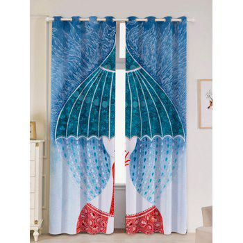 Lightproof 2Pcs Abstract Printed Window Curtains - COLORFUL COLORFUL