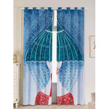 Lightproof 2Pcs Abstract Printed Window Curtains