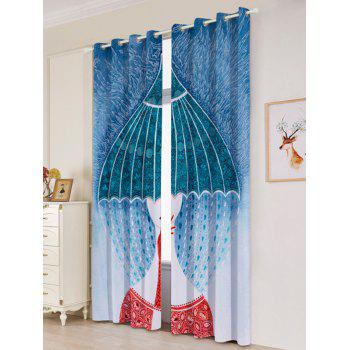 Lightproof 2Pcs Abstract Printed Window Curtains - W53 INCH * L96.5 INCH W53 INCH * L96.5 INCH