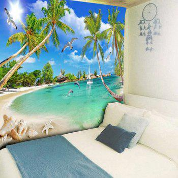 Coconut Palm Island Scenery Wall Hanging Tapestry - SKY BLUE W79 INCH * L59 INCH