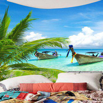 Fishing Boat Seascape Waterproof Wall Tapestry - LIGHT BLUE W71 INCH * L71 INCH