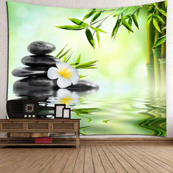 Home Decor Bamboo Pond Wall Hanging Tapestry - GREEN W59 INCH * L59 INCH