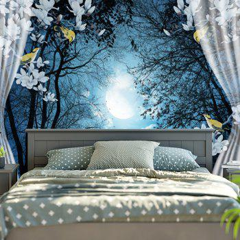 Forest Night Printed Wall Hanging Tapestry - BLUE W79 INCH * L59 INCH