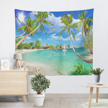 Coconut Palm Island Scenery Wall Hanging Tapestry - SKY BLUE W59 INCH * L51 INCH