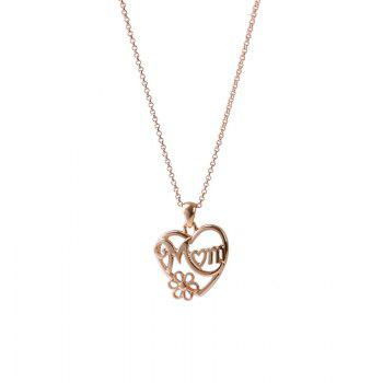 Alloy Mom Heart Flower Collarbone Necklace