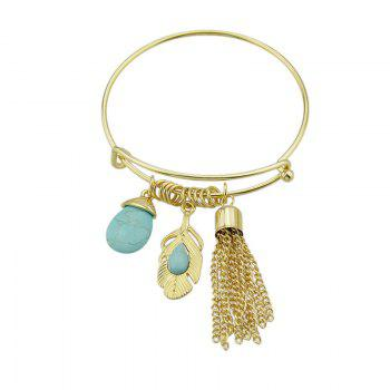 Faux Turquoise Fringed Feather Teardrop Bracelet - GOLDEN GOLDEN