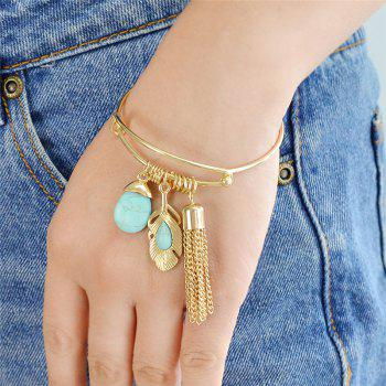 Faux Turquoise Fringed Feather Teardrop Bracelet -  GOLDEN