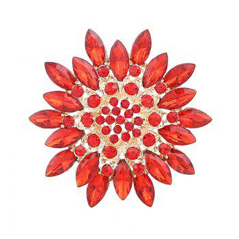 Rhinestone Flower Sparkly Brooch - RED RED