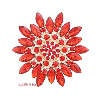 Rhinestone Flower Sparkly Brooch -  RED
