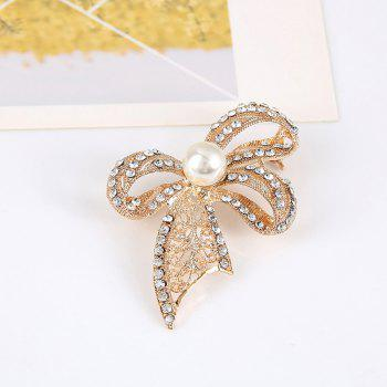 Rhinestone Faux Pearl Bows Brooch -  GOLDEN
