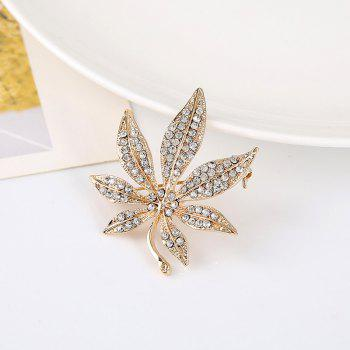 Sparkly Rhinestone Alloy Maple Leaf Brooch