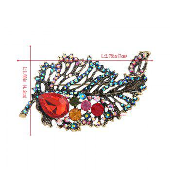 Rhinestone Faux Ruby Sparkly Leaf Brooch - GREEN