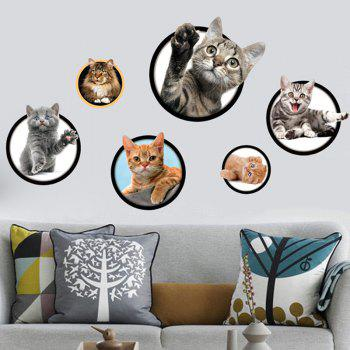 Home Decorative 3D Cat Pattern Wall Sticker - COLORFUL COLORFUL