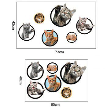Home Decorative 3D Cat Pattern Wall Sticker -  COLORFUL