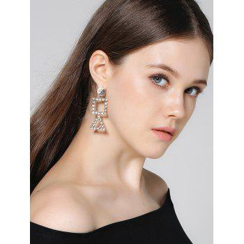 Rhinestone Geometric Triangle Dangle Earrings - Or