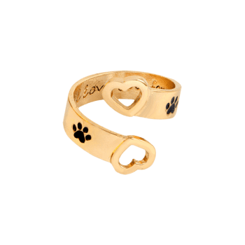 Love You Forever Claw Footprint Heart Ring - GOLDEN GOLDEN