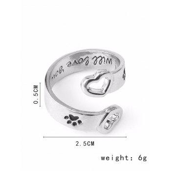 Love You Forever Claw Footprint Heart Ring -  SILVER