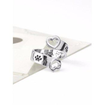 Love You Forever Claw Footprint Heart Ring - SILVER SILVER
