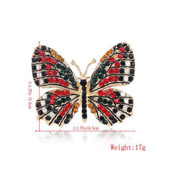 Rhinestone Sparkly Butterfly Brooch -  RED