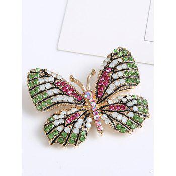 Rhinestone Sparkly Butterfly Brooch -  GREEN