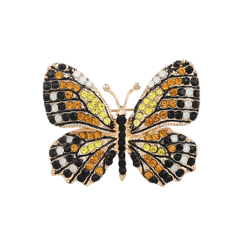Rhinestone Sparkly Butterfly Brooch - CHAMPAGNE CHAMPAGNE