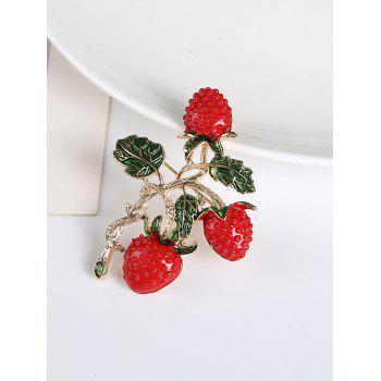 Leaf Strawberry Fruit Brooch -  RED
