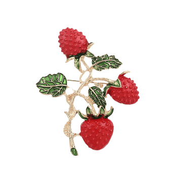 Leaf Strawberry Fruit Brooch - RED RED