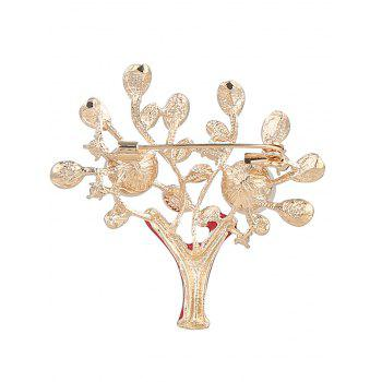 Faux Pearl Rhinestone Tree of Life Brooch - RED