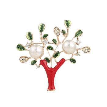 Faux Pearl Rhinestone Tree of Life Brooch