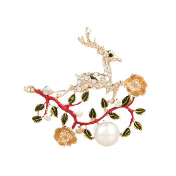 Broche strass Faux Pearl Christmas Elk Brooch