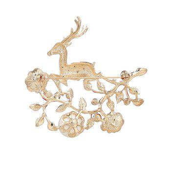 Rhinestone Faux Pearl Christmas Elk Brooch -  RED