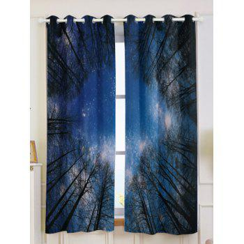 2Pcs Forest Starry Sky Printed Lightproof Window Curtains - DEEP BLUE W53 INCH * L63 INCH