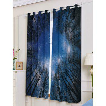 2Pcs Forest Starry Sky Printed Lightproof Window Curtains - W53 INCH * L63 INCH W53 INCH * L63 INCH