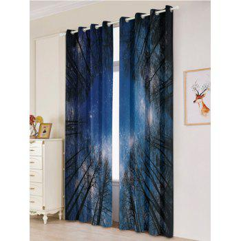 2Pcs Forest Starry Sky Printed Lightproof Window Curtains - W53 INCH * L84.5 INCH W53 INCH * L84.5 INCH