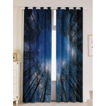 2Pcs Forest Starry Sky Printed Lightproof Window Curtains