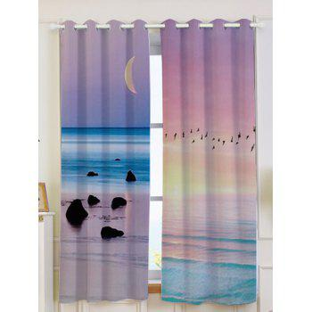 2Pcs Lightproof Seaside Sunset Printed Window Curtains - COLORFUL W53 INCH * L63 INCH