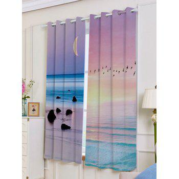 2Pcs Lightproof Seaside Sunset Printed Window Curtains - W53 INCH * L63 INCH W53 INCH * L63 INCH
